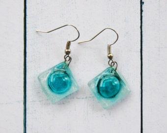 Fused glass earrings Dangle earrings Fused glass jewelry Fused glass drop earrings white clear turquoise A11