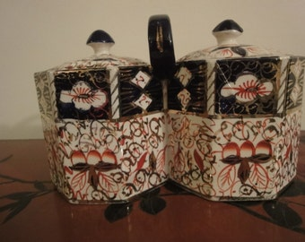 Welsh ceramic Two Divisional Tea Caddy  or Biscuilt/cookie Barrel