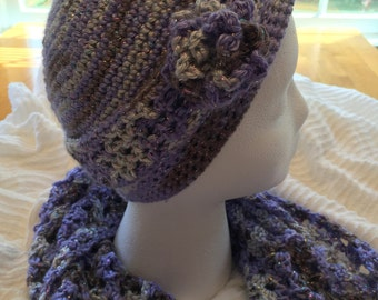 Hand crocheted Chemo Cap and scarf