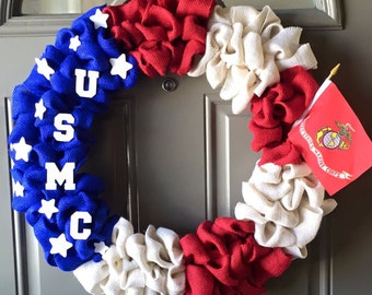 USMC Military Americana - USMC Burlap Wreath, USMC Military Burlap Wreath, Military Burlap Wreath, Patriotic Burlap Wreath, Marine Corps