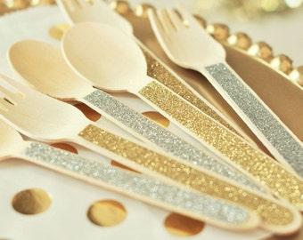 Glitter wooden utensils-set of 24-glitter spoons, glitter forks, wooden party utensils