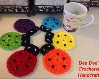 Hand Crocheted Lady Bug Coasters, Assorted Colors, (6)