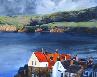 "Robin Hood Bay - signed original acrylic painting 20x20"" in size"