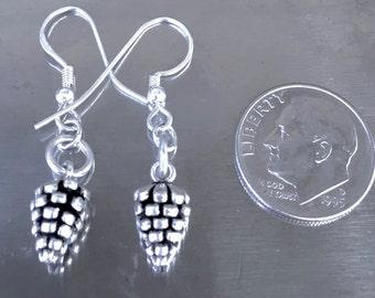 solid sterling silver acorn earrings