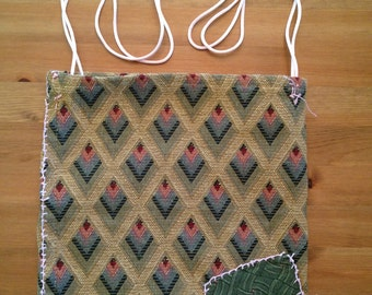 Green diamond red eyes repurposed upholstery fabric with pink strap- shoulder bag