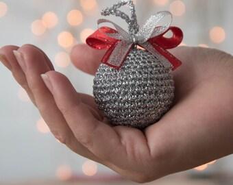 Crochet silver ball Crochet Christmas ornaments Silver ball  tree toy Crochet Christmas decoration Xmas tree ornaments Winter wedding decor