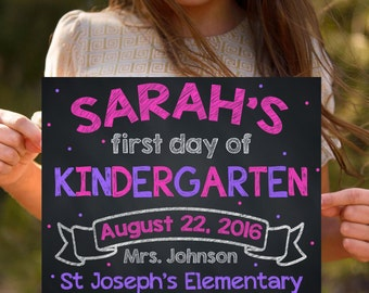 First Day Of School Signs, Kindergarten Signs, Grade School Signs, Back To School, 1st Day Of Kindergarten, Chalkboard Signs, Printable Sign