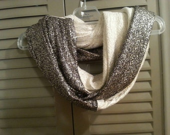 Extra long Ivory and Black Gold Sparkle Infinity Scarf