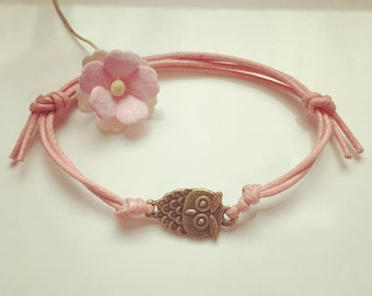 Bracelet with OWL in pink, waxed cotton, vintage, statement, blogger, owl