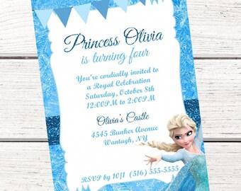 Frozen Elsa Invitation, FREE Thank You Card File, Frozen Invitation, Queen Elsa Invitation, Princess Elsa Invitation, Frozen Birthday