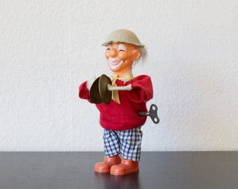 Vintage power clown with cymbals-Retro toys-wind up toy