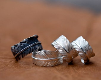 Silver Feather Ring   Native American Inspired   Tribal Ring   Adjustable Ring   Feather Couples Ring  Sterling Silver Vintage Ring Oxidized