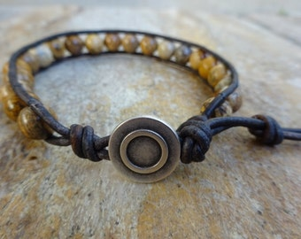 Mens 8mm Picture Jasper Bead /Brown Leather Single Wrap Bracelet With an Metal Button Beaded Natural Gemstone