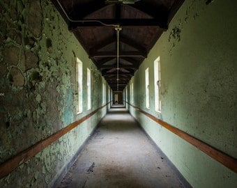 Print - Decaying Hallway - Former State Hospital for the Insane