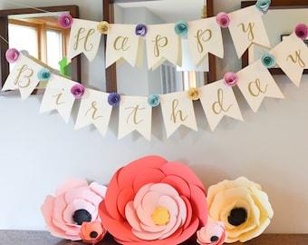 Spiral Paper Flower Banner - Custom Colors
