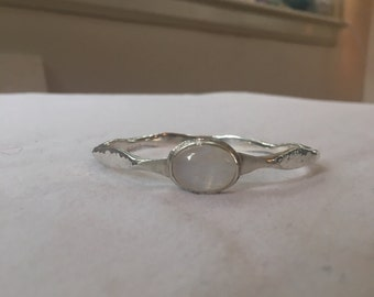 Sterling Silver Rainbow Moonstone Bangle