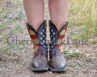 Red, White and Blue Boots, Canvas Print