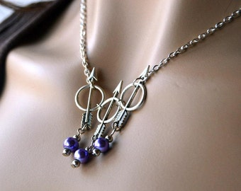 Classy Silver and Purple Hawkeye Inspired 3 Arrow Necklace