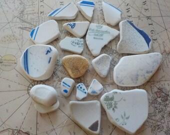 Beach  pottery-sea pottery -set of 17 pieces