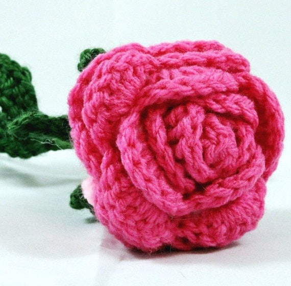 Pink rose flower with adjustable stems and leaves