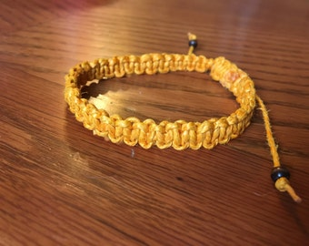 Vintage Orange hemp macrame bracelet