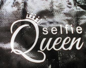 Selfie queen white window decal