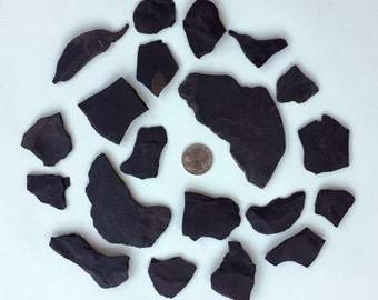 20 pieces (1/2 lb) of Black Slate Rocks for Crafting, Aquariums, Decor, Jewelry Making, or Rock Study.