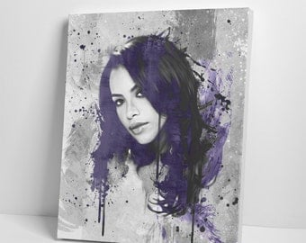 Aaliyah Rock the Boat - Canvas Fine Art Giclée Print - Varnished Acrylic Purple Painting Abstract Illustration Celebrity Singer