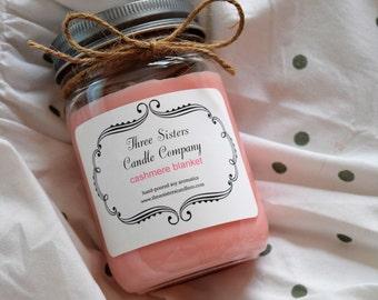 Cashmere Blanket 12 Oz Mason Jar Soy Candle