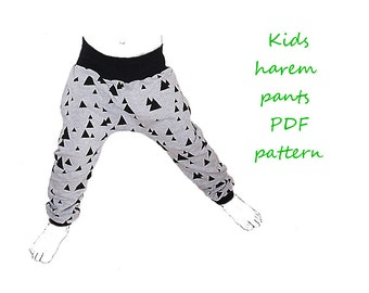 Kids harem pants pattern pdf, boys harem pants pattern, girls harem pants pattern, kids sewing patterns