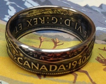 1937 to 1947 Canada 50 Cent Coin Ring — 80% Silver
