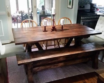 6 Ft. Farmhouse Table and Bench Set