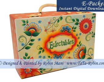 304E E-PACKET Eclectables Decorative Painting Pattern Digital-Instant Download - Flowers - Metal Latch Box - Handpainted - DIY - TaTa Robin