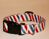 red white and blue collar / stripes  / male dog collar / girl dog collar / handmade gift / dog accessories / fashion  / USA /