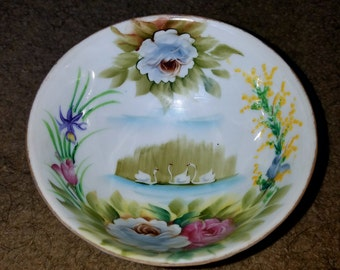 Hand Painted Lenwile China Ardalt Japan Swan 3 Footed Bowl #6010