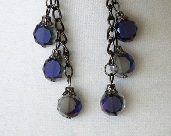 Iridescent Purple Smoke Dangle Earrings