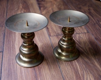 Vintage Brass Candle Holders - Set of 2