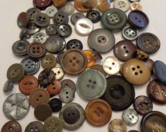 85 Assorted Grey mix Vintage Button Mixed Buttons Vintage Buttons Grey Brown Black Buttons