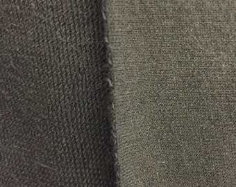 Black Cotton French Terry Fabric by the yard