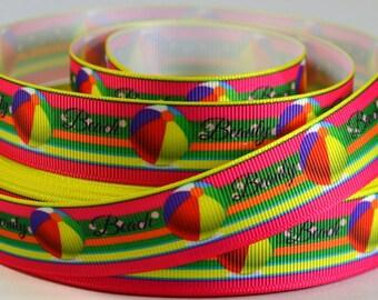 """7/8"""" Summer Ribbon - Beach Beauty  - Beach Ball - Printed Grosgrain Ribbon"""