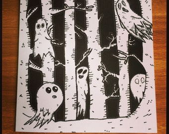 Ghost in the Woods greeting card  Halloween