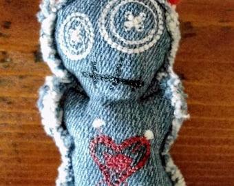 "Upcycled Denim ""The Ex"" Voodoo Doll Pincushion (Dark Denim)"