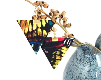 colourful Triangle earrings, butterfly fabric, textile earrings