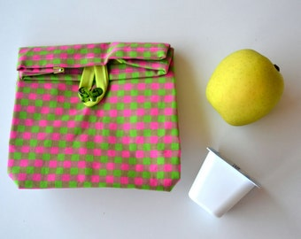 Lunch bag pink and green