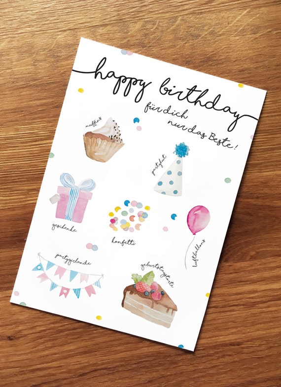 """Post card birthday, for you the best"", birthday, cupcakes, gifts, cake, wishes, greetings, congratulations"