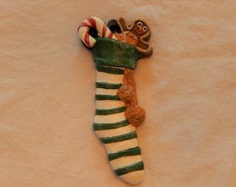 The Christmas Stocking ornament, Christmas ornament, Holiday ornament, ceramic