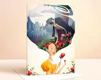 Beauty and The Beast Card | Birthday Card | Girls Birthday Card | Princess Card | Greeting Card | Fairy Tale | Art Card | Rose | Nursery Art