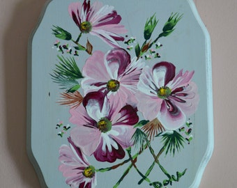 Pink Flowers on Mint Plaque (wood)