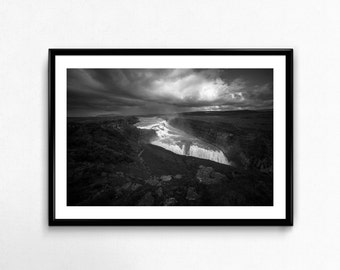 Gullfoss / Iceland / Waterfall / Black and White / Travel / Arctic / Decoration