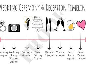 Reception timeline etsy wedding ceremony and reception timeline junglespirit Image collections